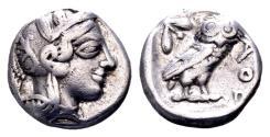 Ancient Coins - Attica, Athens. AR Drachm (14 mm, 4.17 gram) circa 454-404 BC
