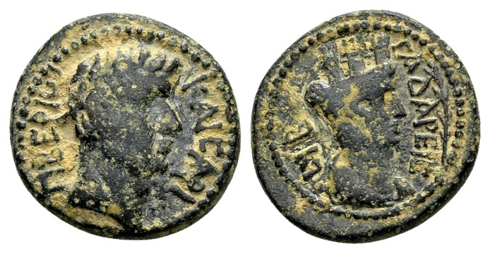 Ancient Coins - Syria, Decapolis, Gadara. Tiberius AD 14-37, AE 19mm (5.84 g) dated year 92, AD 28/29