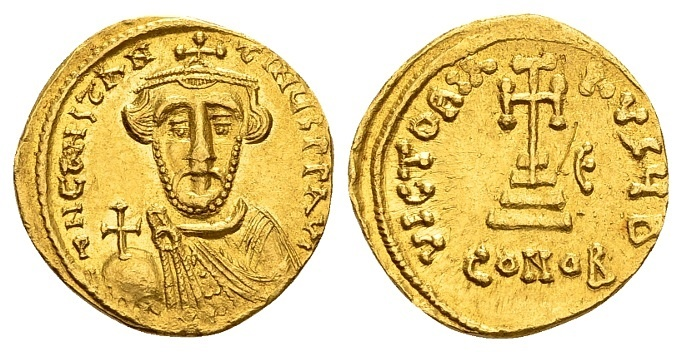Ancient Coins - Constans II AD 641-668, Gold Solidus (19mm, 4.35g) Constantinopolis dated Indiction 5, AD 646-7