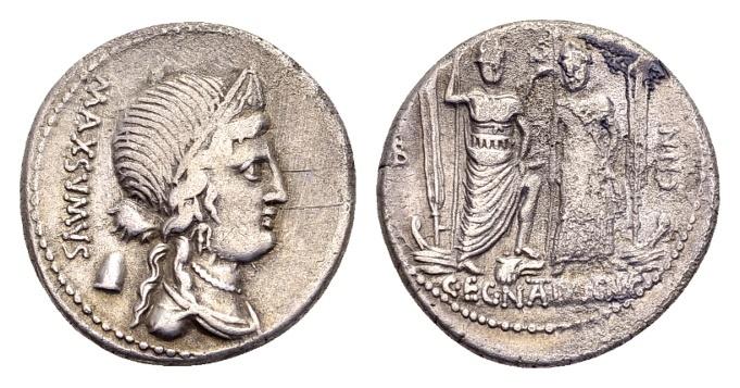 Ancient Coins - Roman Republic. Cn. Egnatius Maxsumus, AR Denarius (18mm, 3.75 g) Rome 75 BC