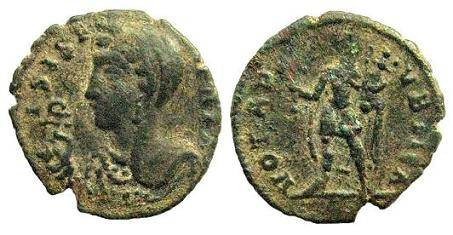 Ancient Coins - Festival of Isis coinage, c. mid 4th century AD. AE 15mm / Anubis standing