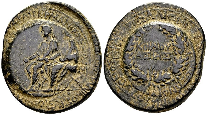 Ancient Coins - Lydia, Sardes. Drusus and Germanicus, AE 26/29mm (13.64 g) struck circa AD 23-26