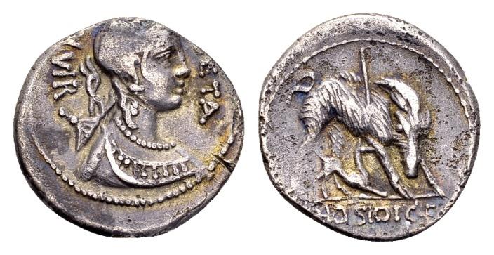Ancient Coins - Roman Republic. C. Hosidius Geta, AR Denarius (18mm, 3.71 g) Rome 68 BC