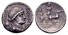 Ancient Coins - Roman Republic. L. Farsuleius Mensor, AR Denarius (18mm, 3.87 g) Rome 75 BC