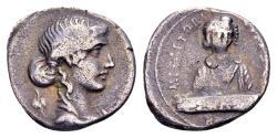 Ancient Coins - Roman Republic. M. Plaetorius M.f. Cestianus. AR Denarius (17mm, 3.65 gram) Rome 69 BC