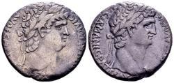 Ancient Coins - Syria, Antioch. Nero, with Divus Claudius, AD 54-68, AR Tetradrachm (25mm, 13.67 gram)