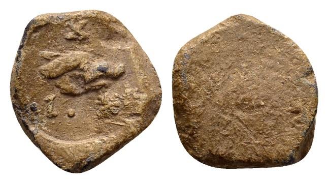 Ancient Coins - Ionia, Ephesos. Lead tessera c. 2nd-3rd century AD / Boar's head