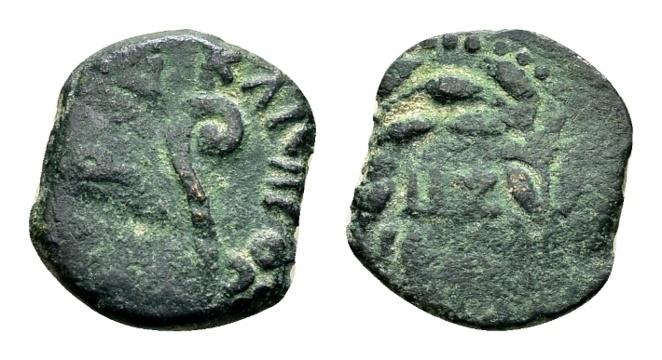 Ancient Coins - Judaea, Procurators. Pontius Pilate AD 26-36, under Tiberius AD 14-37, AE Prutah (15mm, 1.87g) dated year 17, AD 30/31