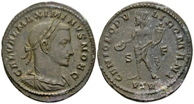 Ancient Coins - Maximinus II Caesar AD 305-308, AE Follis (27mm, 9.78 g) Trier AD 305-307
