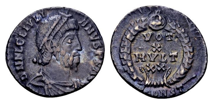 Ancient Coins - Ex East Harptree Hoard (1887) - Julian II AD 360-363, AR Siliqua (17mm, 2.11 gram) Arelate