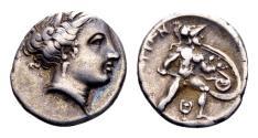 Ancient Coins - Lokris, Lokri Opuntii. AR Hemidrachm or Triobol (14mm, 2.69 gram) c. 340-330 BC