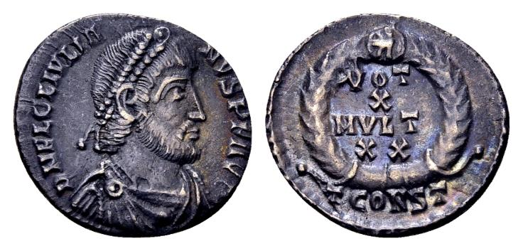 Ancient Coins - Ex East Harptree Hoard (1887) - Julian II AD 360-363, AR Siliqua (17mm, 2.18 gram) Arelate