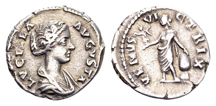 Ancient Coins - Lucilla, wife of Lucius Verus AD 161-169, AR Denarius (18mm, 2.76 g) Rome