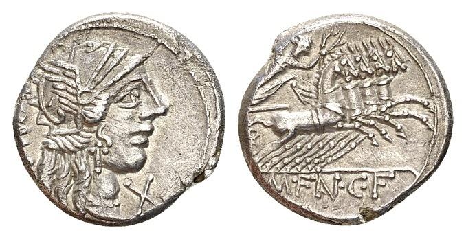 Ancient Coins - Roman Republic. M. Fannius. AR Denarius (18mm, 3.69 gram) Rome 123 BC