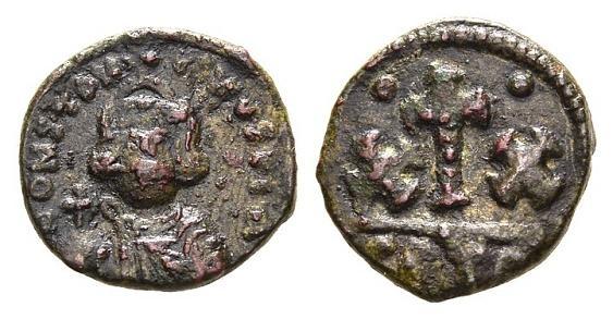 Ancient Coins - Constans II AD 641-668, AE Half Follis (18mm, 4.26g) Carthage mint