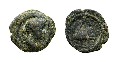Ancient Coins - Egypt, Alexandria. Hadrian AD 117-138, AE Dichalkon (12mm, 0.79 g) dated year 10, AD 125/26