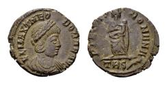 Ancient Coins - Theodora, second wife on Constantius I, AE Follis (15mm, 1.89 gram) Trier, struck posthumously AD 337-340