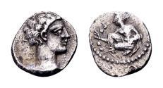 Ancient Coins - Cilicia, Tarsos. Tiribazos, satrap of Lydia 388-380 BC, AR Obol (9 mm, 0.71 gram)