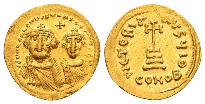 Ancient Coins - Heraclius AD 610-641, Gold Solidus (4.39g, 20mm) Constantinopolis