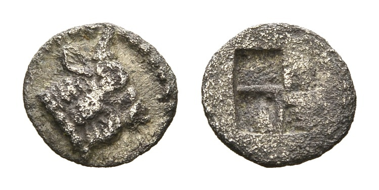 Ancient Coins - Macedon, Akanthos. AR Hemiobol (8mm, 0,24g) circa 470-390 BC