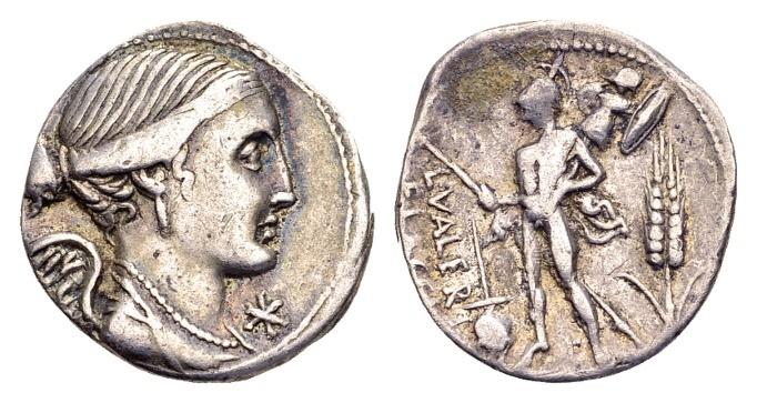 Ancient Coins - Roman Republic. L. Valerius Flaccus, AR Denarius (19mm, 3.85 g) Rome 108-107 BC