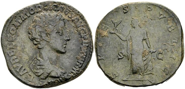 Ancient Coins - Commodus Caesar AD 175-177, AE Sestertius (24.90 g) Rome / Ex Lückger