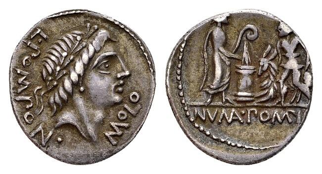 Ancient Coins - Roman Republic. L. Pomponius Molo, AR Denarius (18mm, 3.19g) Rome 97 BC