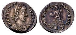 Ancient Coins - Theodosius I AD 379-395, AR Siliqua (19mm, 1.62 gram) Trier AD 388-395