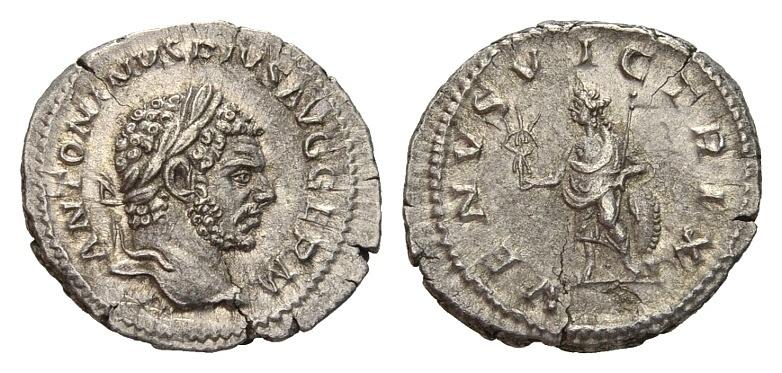 Ancient Coins - Caracalla AD 198-217, AR Denarius (20mm, 3.07g) Rome AD 213-217