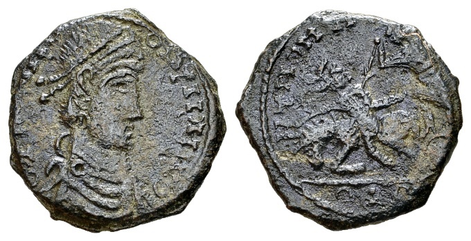 """Ancient Coins - Constantius II AD 337-361, AE """"barbarous"""" imitation (21mm, 4.69 g) of a Trier mint """"fallen horseman"""" prototype"""