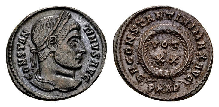 Ancient Coins - Constantine the Great AD 307-337, AE Follis Arelate 322-23 / Ex Lückger