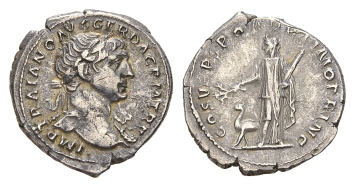 Ancient Coins - Trajan 98-117 AD, AR Denarius (21mm, 3.35g) Rome AD 103-112