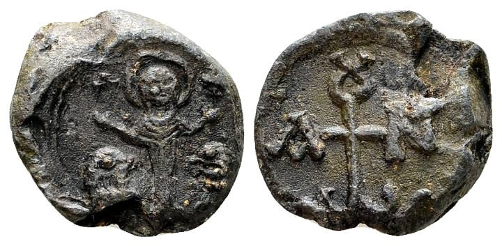 Ancient Coins - Johannes. Byzantine lead seal c. 6th-7th century AD / Saint Thekla