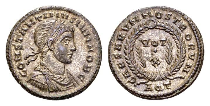 Ancient Coins - Constantine II Caesar AD 317-337, AE silvered Follis (18mm, 3.31 g) Aquileia AD 322