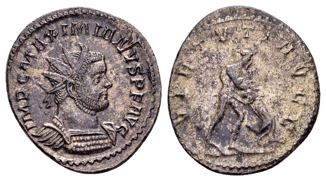 Ancient Coins - Maximian AD 286-305, AE Silvered Antoninianus (22mm, 3.85 g) Lugdunum
