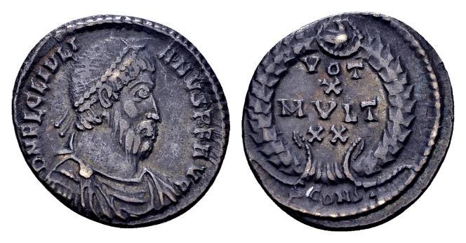 Ancient Coins - Ex East Harptree Hoard (1887) - Julian II AD 360-363, AR Siliqua (17mm, 2.25 gram) Arelate