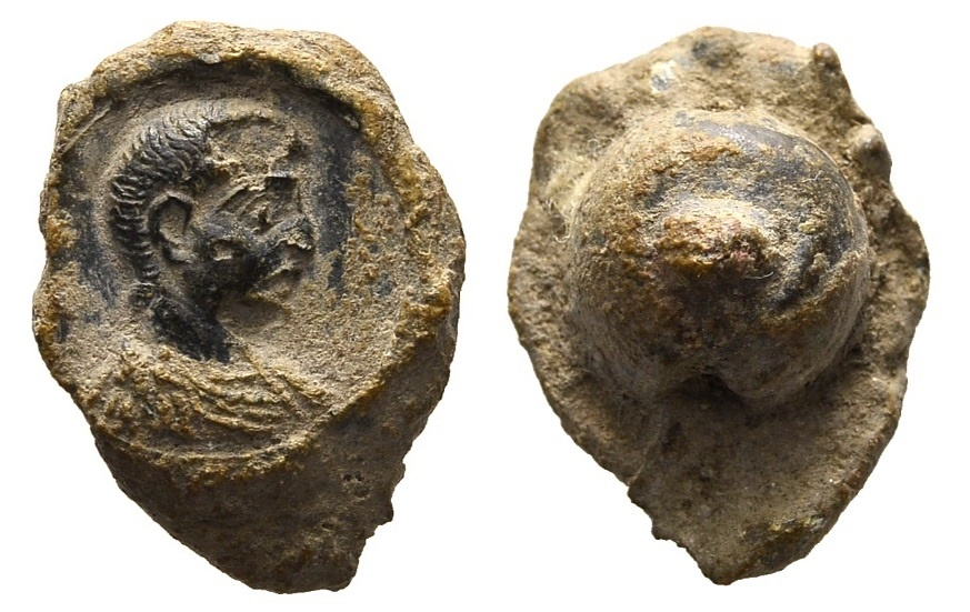 Ancient Coins - Roman lead seal 3rd-4th century AD / Bust of a young man r.
