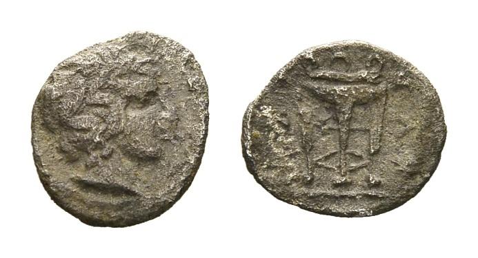 Ancient Coins - Macedon, Chalkidian League. AR Hemibol (8mm, 0.22g) Circa 390 BC Olynthos mint