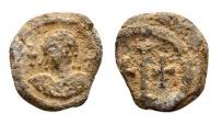 Maurice Tiberius AD 582-602, lead Decanummium (15mm, 3.20 gram)