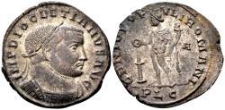 Ancient Coins - Diocletian AD 284-305, AE silvered Follis (27 mm, 8.81 gram) Lugdunum 301-03