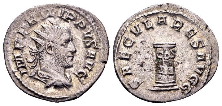 Ancient Coins - Philip AD 244-249, AR Antoninianus (23mm, 3.17 gram) Rome AD 248