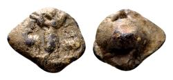 Ancient Coins - Good Shepherd - Roman lead seal (15x13x9 mm, 4.48 gram) 4th century