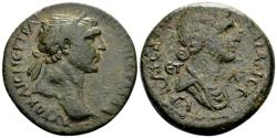 Ancient Coins - Cilicia, Anazarbus. Trajan AD 98-117, with Matidia. AE 27mm (13.01 gram) dated year 132, AD 113/114
