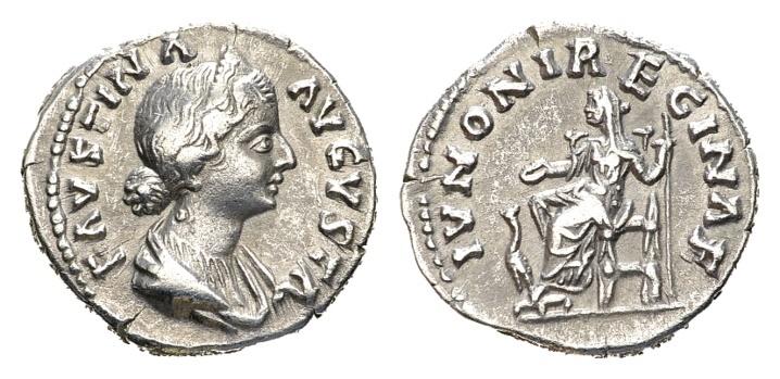 Ancient Coins - Faustina II, wife of Marcus Aurelius AD 161-180, AR Denarius (18mm,3.21 g) Rome
