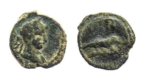 Ancient Coins - Egypt, Alexandria. Hadrian AD 117-138, AE Dichalkon / Crocodile
