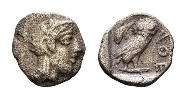 Ancient Coins - Attica, Athens. AR Obol (9mm, 0.61g) c. 454-404 BC