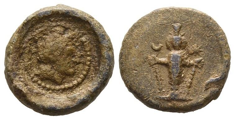 Ancient Coins - Asia Minor. Lead tessera c. 2nd century AD / Alexander and Artemis Ephesia
