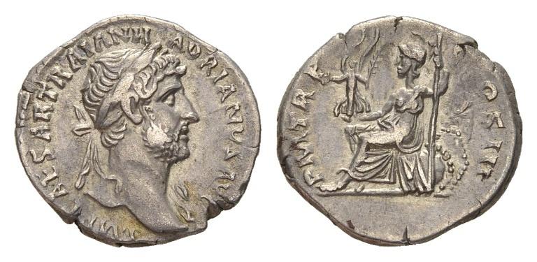Ancient Coins - Hadrian AD 117-138, AR Denarius (18mm, 3.24g) Rome
