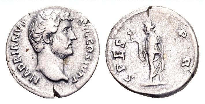 Ancient Coins - Hadrian AD 117-138, AR Denarius (18mm, 2.95 g) Rome