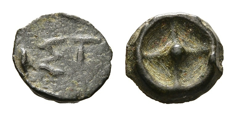 Ancient Coins - Moesia, Istros. Cast AE 10mm (0.68g) 5th-4th century BC